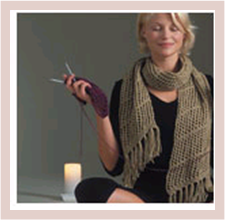knitter with candle